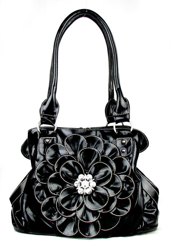 Black Black Flower Twist Clutch Flower Rhinestone Fashion Handba