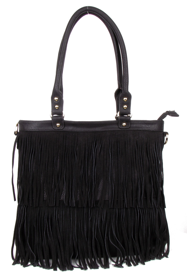 Large Black Fringe Tassel Fashion Handag