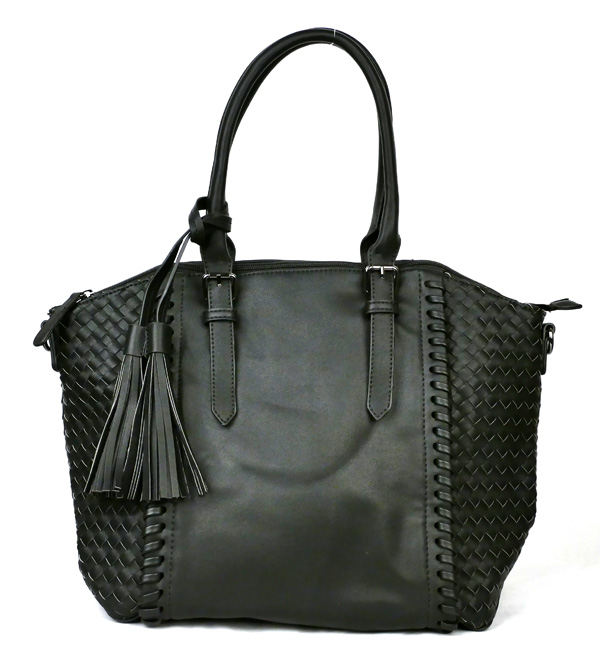 Large Black Braided Fashion Handbag