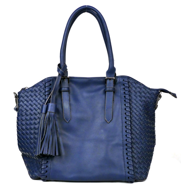 Large Navy Blue Braided Fashion Handbag