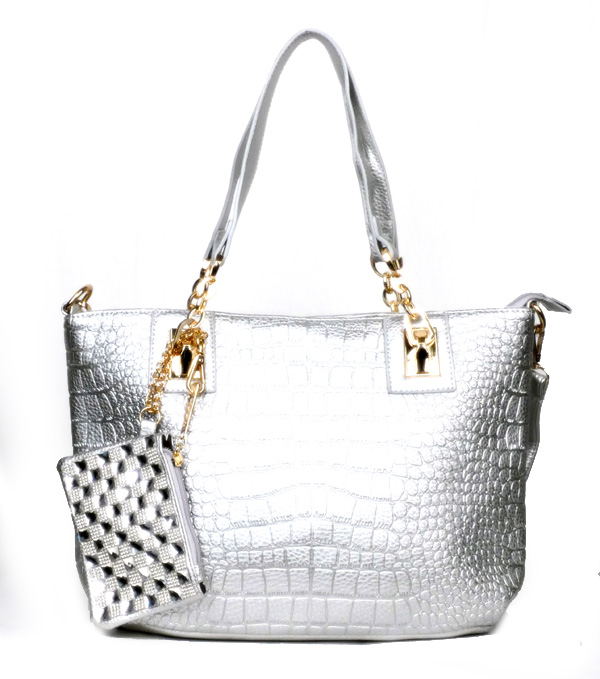 Crocodile Silver Fashion Handbag