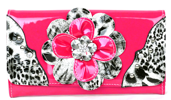 Leopard tri-folder Pink Flower Wallet