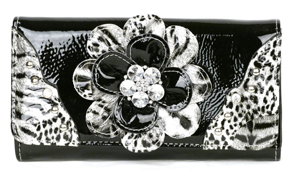 Leopard tri-folder Black Flower Wallet