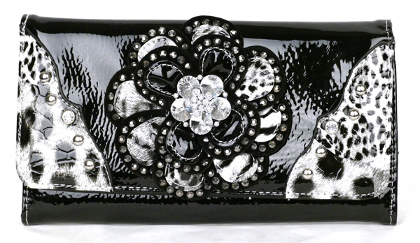 Leopard tri-folder Black Rhinestone Flower Wallet