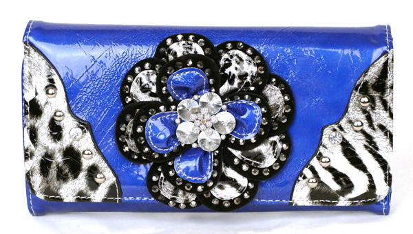 Leopard tri-folder Blue Rhinestone Flower Wallet