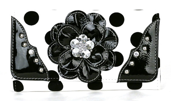Polka Dot tri-folder Black Rhinestone Flower Wallet