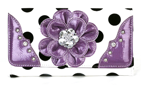 Polka Dot tri-folder Purple Rhinestone Flower Wallet