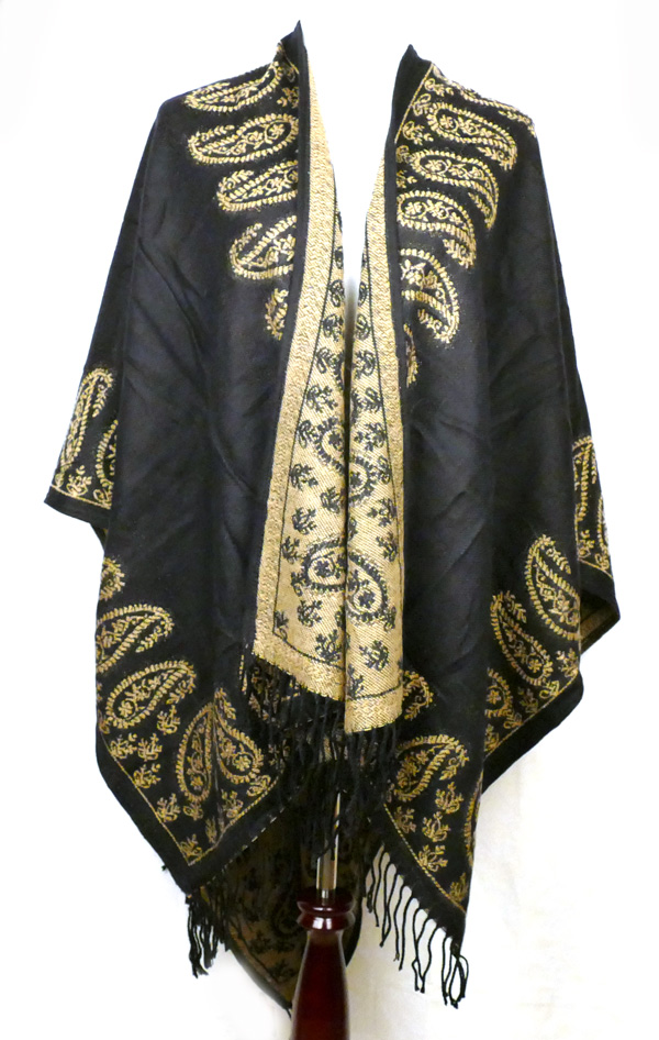 Black Gold Paisley Poncho