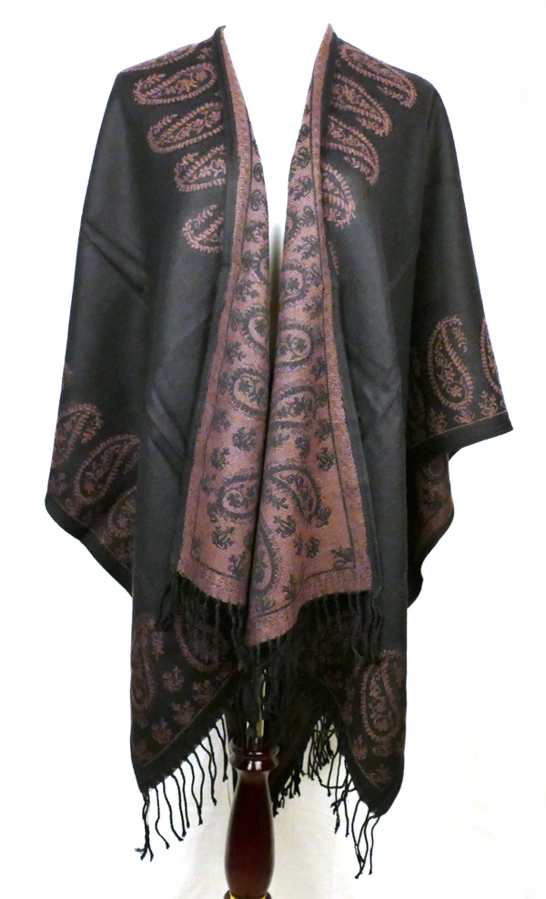 Black Coffee Paisley Poncho