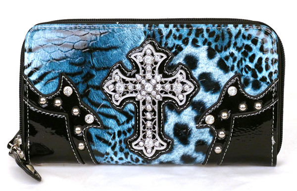 Western Zipper Blue Leopard Crosse Wallet