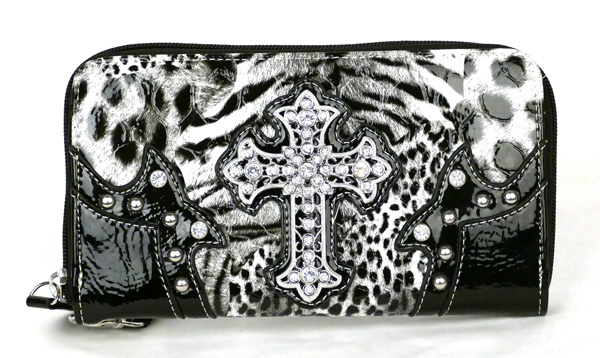 Western Zipper Black Leopard Crosse Wallet