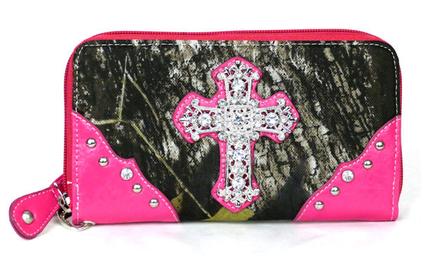 Western Zipper Pink Camouflage Cross  Wallet