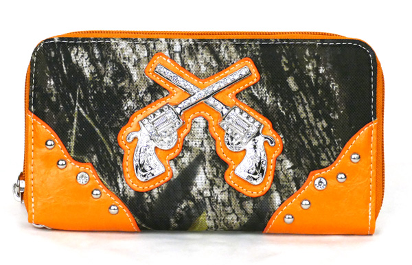 Western Zipper Orange Camouflage Guns Wallet