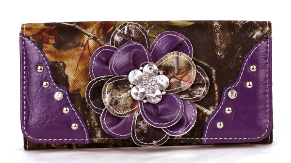 Western tri-folder Purple Camouflage Flower Wallet