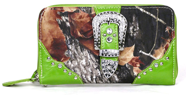 Western Zipper Green Camouflage Buckle Wallet