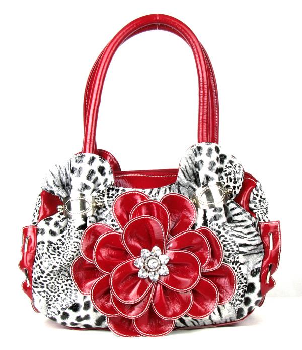 Leopard Red Flower Rhinestone Fashion Handbag